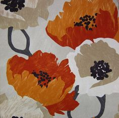 A modern floral fabric in dark red, persimmon, light taupe and white on a dark taupe background. This fabric is suitable for light furniture upholstery, drapery, stretched canvas wall art and bedding. Each flower is approximately 14 inches (35 cms) in height. See additional color links, curtain/roman shade information and custom pillow cover pricing below. This listing is for fabric by the yard.  FABRIC SAMPLES: Fabric Name: Hastings To order a swatch of this fabric, click here…