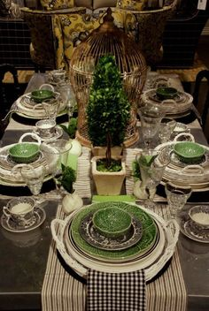 Mary Carol's Blog--Eye Candy for Dinner: Our Spring Tabletop Event ~ Like the cabbage leaf with black dishes.