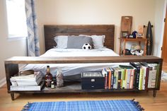 DIY Crate & Barrel Atwood Bed. Make your own rustic, yet functional storage bed using these free, DIY building plans.