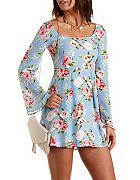 Bell Sleeve Floral Babydoll Dress