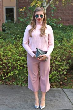 pink culottes are perfect feminine work wear