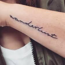 Wanderlust tattoo word tattoos, finger tattoos, mini tattoos, new tattoos. Trendy Tattoos, Mini Tattoos, Unique Tattoos, New Tattoos, Tatoos, Word Tattoos, Finger Tattoos, Wanderlust Font, Wanderlust Tattoos