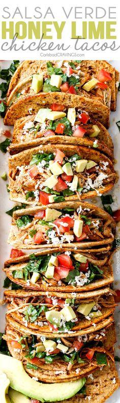 Slow Cooker Salsa Verde Honey Lime Chicken Tacos @FoodBlogs