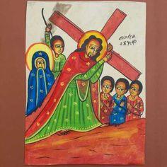 Etiopia-Dipinto-a-mano-pittura-sacra-icona-copta-La-via-della-Croce-Gesu
