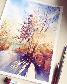 These are Simple Watercolor Paintings Ideas for Beginners to Copy that is flat out marvelous These Easy Watercolor Painting ideas or Watercolor Paintings for Beginners will make painting a breeze for you These Watercolor Paintings to Copy are going - # Easy Watercolor, Watercolor Landscape, Landscape Paintings, Nature Paintings, Landscapes, Nature Artwork, Nature Drawing, Ouvrages D'art, Guache