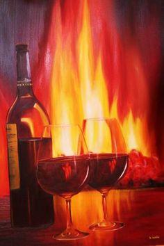 Wein am Kamin von Atelierbarbara1 Ölgemäde - Unikat 80 x 100 cm  350,-€