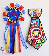 Baby Shower Super Hero Mommy and Daddy Corsage and Tie Distintivo y Corbata