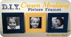DIY Crown Moulding Picture Frames- each one only costs about $20 and you can make them as big as you want! SixSistersStuff.com #lowes #DIY