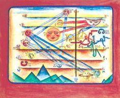<b>Horóscopo de Xul Solar (1953).</b> Acuarela sobre papel, montada sobre cartulina, 17 por 22cm.