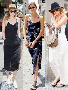 可以選擇像是Karlie Kloss、Alexa Chung暗色系的印花洋裝,利用深色系和明亮花朵圖騰的對比,展現另依種摩登都會品味。如果妳是偏好簡單的風格,選擇像Rosie HuntingtonWhiteley、Dakota Johnson單色系長洋裝,搭配時髦配件
