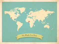 World Roots Map 18x24 Customized Print Blue by ChildrenInspire, $50.00