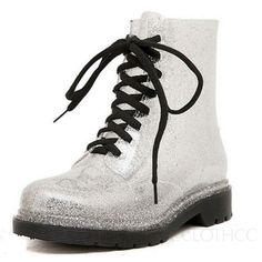 Clear-Rubber-Jelly-Lace-Up-Oxford-Ankle-Combat-Rain-Boots-Womens-Shoes-Size