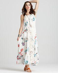 Free People Dress - Magnificent Battenburg Lace Floral Print Maxi