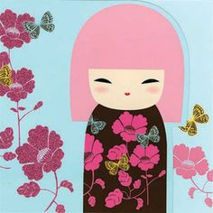 """✿ Kimmidoll Illustration ~ """"Chou"""" 'Butterfly' ✿ """"My spirit brings beauty and inspires wonder. By nurturing a sense of wonder, you release my spirit. Explore the world with all your senses and immerse yourself fully in the beauty and mystery of life."""""""