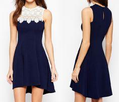 Lace Stitching Sleeveless Vest Dress