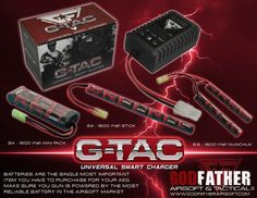 The New G-Tac Airsoft Batteries and chargers available at Godfather Airsoft at unbeatable prices.