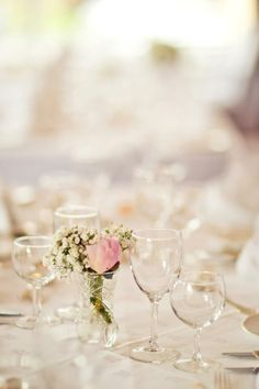Lovely wedding dinner in Hotel Gougane Barra | white, glass, peonies