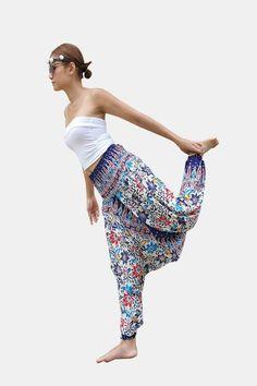 Thai Harem Pants Women Jumpsuit Multicolor Flower Print