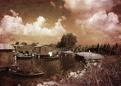 """Digital Art """"Il Villaggio dei Pescatori"""" Giclée su tela cm.50x70"""