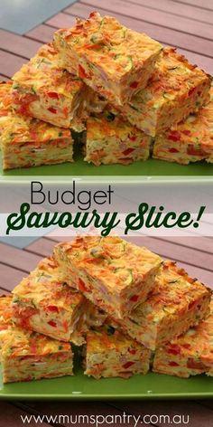 Budget savoury slice … is part of Savoury slice - Savoury Finger Food, Savory Snacks, Savoury Dishes, Finger Foods, Savory Muffins, Savoury Bakes, Savoury Muffins Vegetarian, Easy Finger Food, Vegetarian Recipes