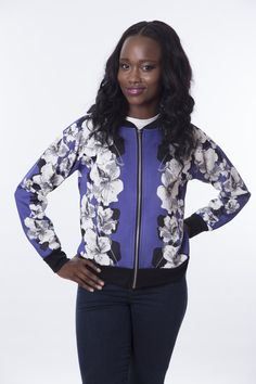 Jumper, Athletic, Coats, Zip, Floral, Jackets, Blue, Collection, Fashion