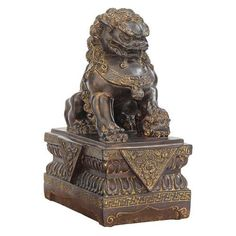 Design Toscano 9 in. Chinese Guardian Lion Foo Dog Statue: Female, Brown