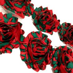 "Christmas stripe print 2.5"" shabby chiffon rose trim"