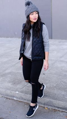 Weekend style - vest, pom pom beanie and ripped jeans
