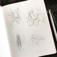 New little doodle in my sketchbook :) . Art Drawings Sketches, Cute Drawings, Dark Drawings, Little Doodles, Artist Sketchbook, Manga, Anime Art Girl, Love Art, Painting & Drawing