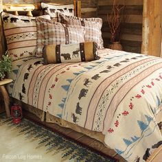 Country Bedding Moose and Bear Bedding Set. I especially like the Dust Ruffle