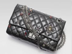 Chanel Paris-Londres 2008 lambskin classic flap bag with glasstone and rhodoid embroidery
