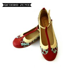Romantic flat leather and fabric shoes by QuieroJune on Etsy, $210.00