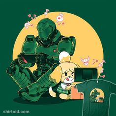 """""""Gaming Buddies"""" by Coinbox Tees Doomguy and Isabelle Video Game Art, Video Games, Percy Jackson, Day Of The Shirt, Slayer Meme, Nintendo Characters, Undertale Drawings, Cartoon Crossovers, Game Sales"""