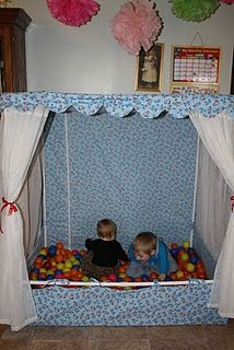 diy ball pit--the girls are probably too old--but it's a good idea for infants & toddlers!