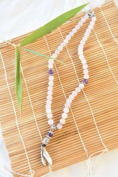 Collier Quartz rose et améthyste Quartz Rose, Bracelets, Tassel Necklace, Tassels, Creations, Jewelry, Amethyst Necklace, Natural Stones, Lobster Clasp