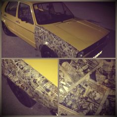 Alan Ford Fender on an old WV Golf #golf #alanford #cars #old #wv #yellow