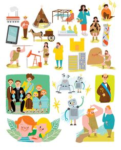 Marisa Morea was commissioned by Teide, a Spanish publishing house, to illustrate a Social Sciences and History schoolbook for Social Science, Editorial, Kids Rugs, Comics, History, Children, Illustration, Spanish, House