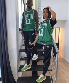 Matching Couple Outfits, Matching Couples, Tomboy Fashion, Streetwear Fashion, Cute Swag Outfits, Girl Outfits, Basketball Jersey Outfit, Cute Black Couples, Adolescents