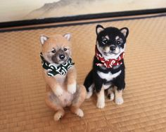 Needle felted dogs - so darn cute!  From Japan