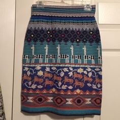 Anthropologie Llama Sweater Skirt Anthropologie Llama Sweater Skirt in Size SMALL. Brand new and in excellent condition. Very stretchy. Vibrant colors and texture. Sweater Skirt, Dress Outfits, Dresses, Vibrant Colors, Anthropologie, Mini Skirts, Blue And White, Ding Dong, Brand New