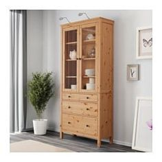 HEMNES Glass-door cabinet with 3 drawers, light brown, cm. Combine with other products in the HEMNES series. Ikea Hemnes Vitrine, Ikea Hemnes Cabinet, Sideboard Cabinet, Hemnes Bookcase, At Home Furniture Store, Modern Home Furniture, Affordable Furniture, Glass Cabinet Doors, Glass Door