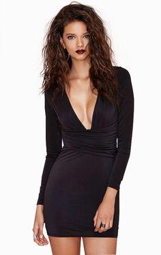 Black Bodycon V Shirred Waist Mini Dress