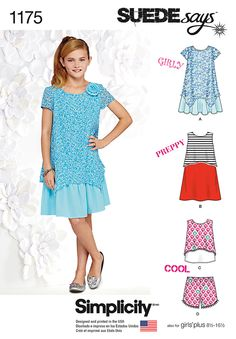 Simplicity pattern 1175 for girls and girls plus features a short sleeve dress with overlay, sleeveless dress with cropped overlay, and tank top with pull-on shorts and yarn pom trim. Sew it with the SUEDEsays collection.
