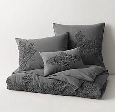 Garment-Dyed Dori Appliqué Duvet Cover