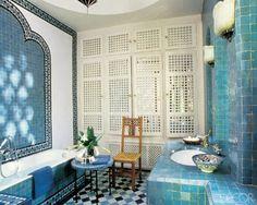 Beautiful Moroccan tile work in Yves St Laurent Marrakech master bathroom