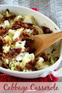 Cabbage Casserole Recipe ~ Creamy, Delicious, Easy Cabbage Casserole Loaded with Bacon, Cabbage, and Cream! Perfect comfort food side dish!