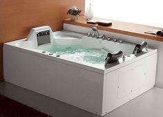 Luxor hydromassage bathtub with 14-inch LCD video screen