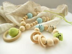 Nursing necklace Teether set Nursing necklace Crochet wood teething toy Gift set for baby  beige blue green breastfeeding necklace