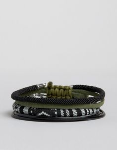 ASOS | ASOS Woven Bracelet Pack In Black With Khaki