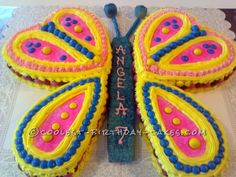 This butterfly birthday cake was for my granddaughter's seventh birthday, and she loved it. I used nine-inch heart-shaped pans. The top wings were eac...